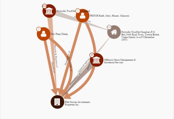 La fiche publiée par l'ICIJ sur laquelle est figuré le montage faisant apparaître le lien entre Manuarii Fritch et la société offshore Elite Success Investments Properties, basée aux îles Vierges britanniques.