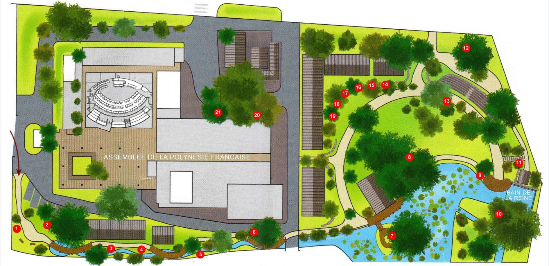 Plan du jardin de la reine avec les principales plantations