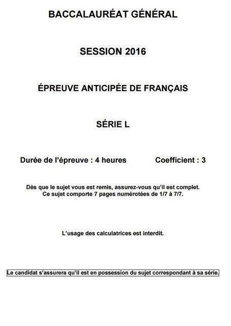 sujet des épreuves anticipées de Français de la série L