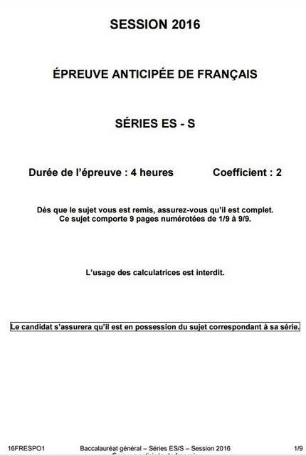 sujet des épreuves anticipées de Français de la série ES-S