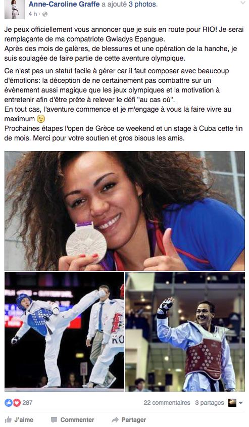 Anne-Caroline Graffe sur les banc des jeux olympiques à Rio