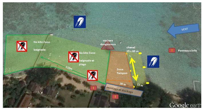 Voici le projet de règlementation proposé par l'association Moorea Kitesurf, qui, selon eux, permettra à tous de profiter du domaine public, en respectant un maximum la sécurité, et en séparant les zones de baignade de la zone de kite.