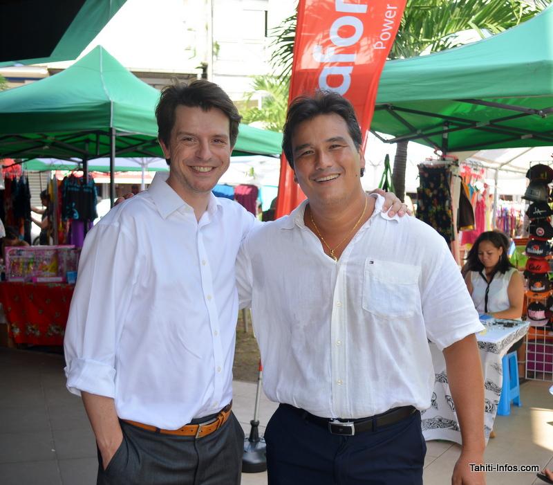 Patrick Moux, vice-président de Vodafone Polynésie, et Thomas Lefebvre-Segard, directeur général