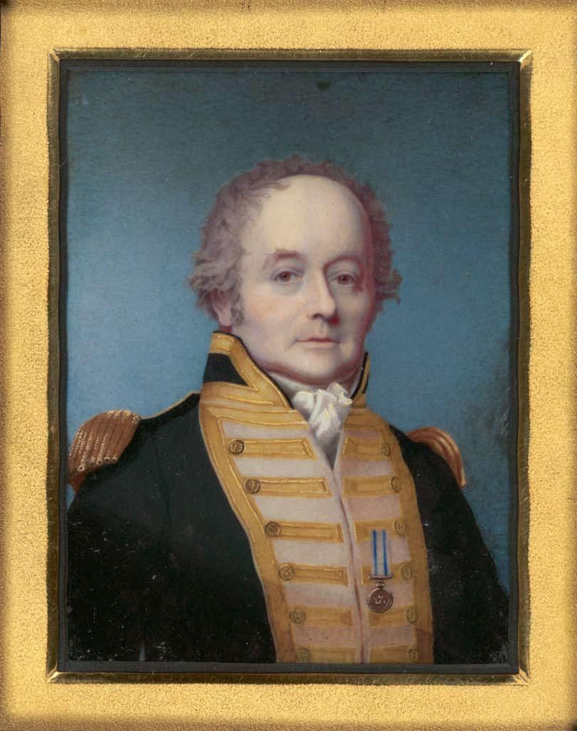 """Un portrait du capitaine Bligh. Sa mauvaise réputation n'était pas usurpée : en 1805, il passa en cour martiale et reçut un blâme pour avoir insulté ses officiers à bord de la """"HMS Warrior""""."""