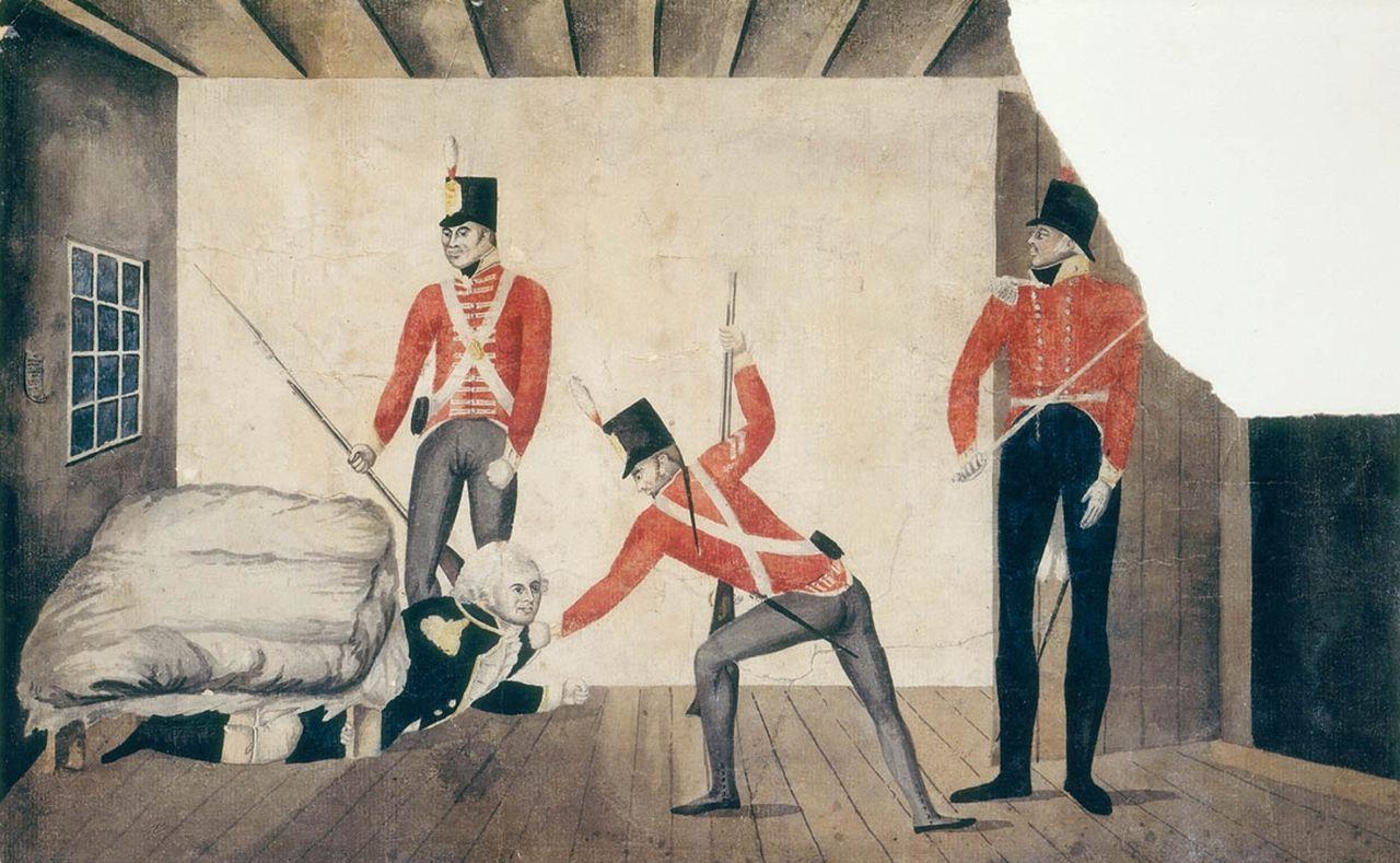 Ce dessin, d'abord affiché à Sydney, puis amplement reproduit, ruina la réputation de Bligh en Angleterre ; on y montre la mutinerie de Sydney, avec un Bligh lâchement caché sous son lit quand il fut arrêté. À cause de cette caricature, il passa pour un pleutre et un couard, indigne d'occuper une fonction de gouverneur.