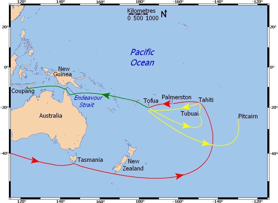 """En rouge, le trajet de la """"HMS Bounty"""" sous le commandement de Bligh. En vert, l'odyssée de celui-ci après la mutinerie. En jaune, les errances de la Bounty avant sa destruction volontaire à Pitcairn."""