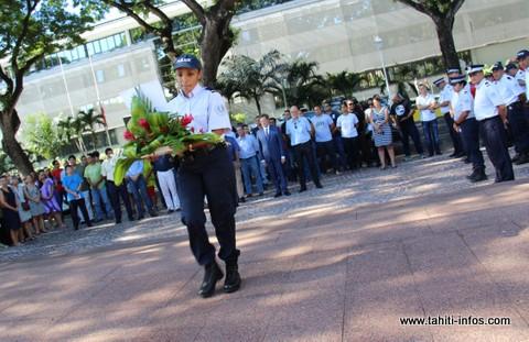La mémoire des deux policiers assassinés a été honorée ce mardi par leurs collègues de Polynésie française.