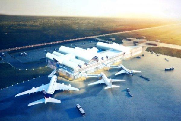 Légende : L'aéroport tel qu'il devrait être une fois terminé...