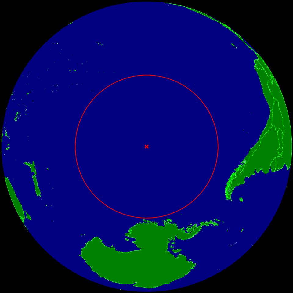 Le Pôle maritime d'inaccessibilité, au sud de la Polynésie française, est l'endroit le plus éloigné de toutes terres émergées au monde. C'est aussi un immense cimetière de vaisseaux spatiaux... Et le premier lieu de résidence de Cthulhu, le monstre de H.P. Lovecraft (Crédit : Wikimedia commons)