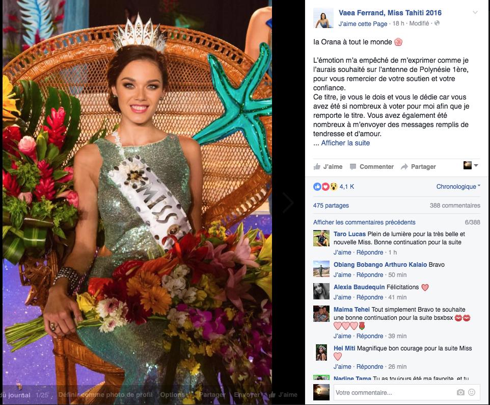 Miss Tahiti: la polémique qui gâche la fête