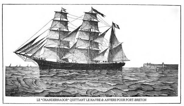 """Cette gravure montre le """"Chandernagor"""" quittant Le Havre et Anvers, pour l'improbable aventure de Port-Breton."""