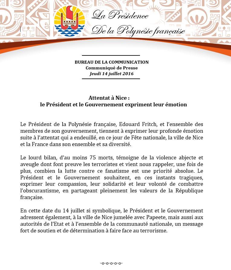 Attentats à Nice, nombreuses réactions en Polynésie française