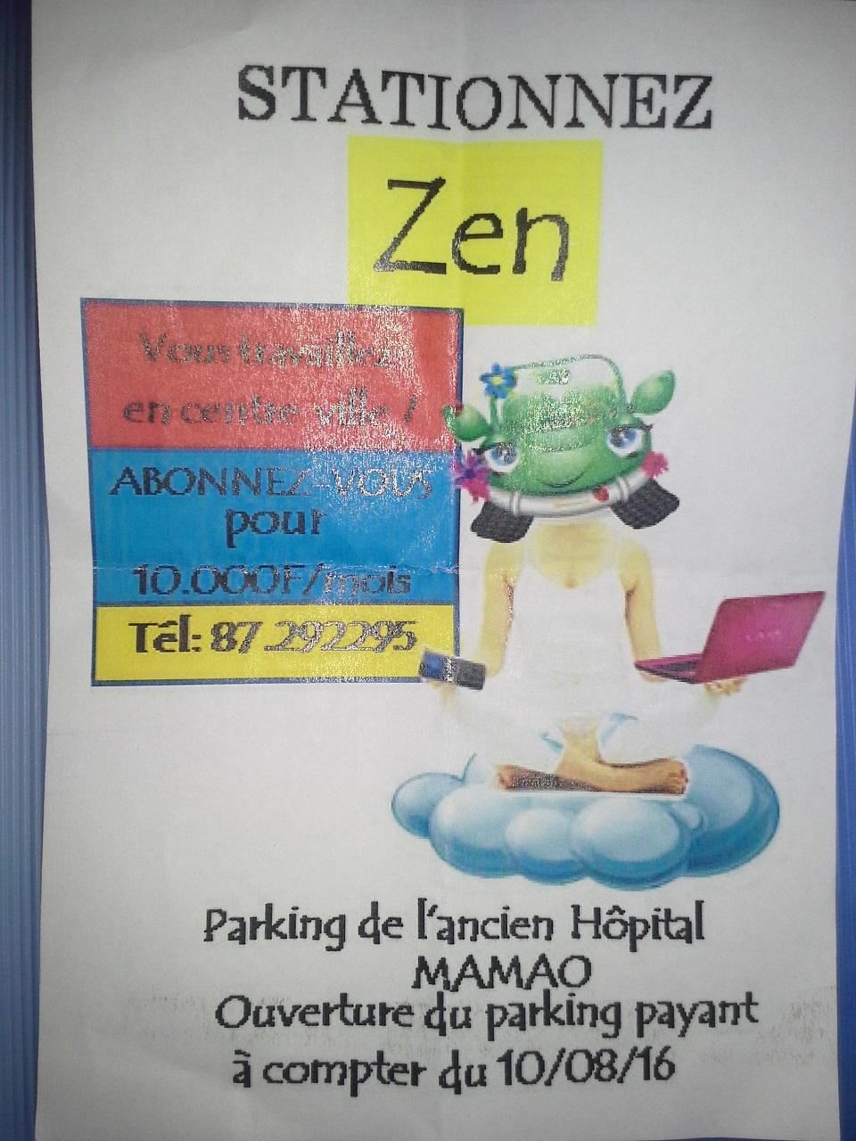 Le flyer posé mardi sur les pare-brises des véhicules en stationnement à Mamao.