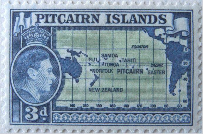 Ce timbre de Pitcairn situe l'île, au centre du Pacifique.