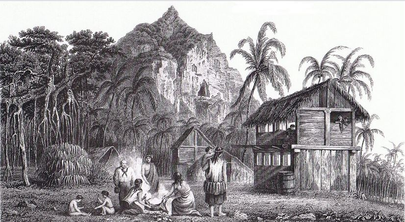 Une maison de Pitcairn, à l'époque de l'installation des mutinés. On reconnaît, sur la gauche, John Adams, denier survivant de la HMS Bounty sur l'île.
