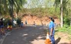 Le cross de Henri Hiro encadré par des stagiaires de la police de Faa'a
