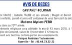 Décès de Madame Myriam PERO