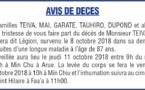 Décès de Monsieur TEIVA Elie Tamuera dit Légion