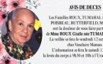 Décès de Madame ROUX Gisèle née TUMAHAI
