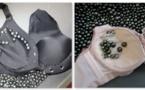 900 perles volées cachées dans des soutiens-gorge