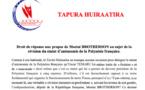 Statut: Droit de réponse du Tapura à Moeatai Brotherson