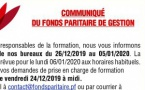 COMMUNIQUE DU FONDS PARITAIRE DE GESTION SUR LA FERMETURE ANNUELLE DES BUREAUX