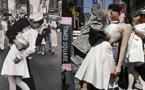 USA: Des centaines de couples recréent le célèbre baiser de Times Square.