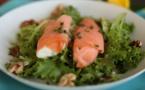 Rouleaux de saumon sur lit de salade