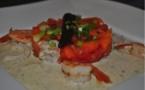 Tartare de crevettes à la tomate et à la sauce vanille