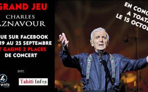Deux nouvelles places à gagner pour le concert de Charles Aznavour ! Jeu du 19/09/17 au 25/09/17