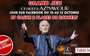 Jeu du 10/10/17 au 12/10/17 : Gagne deux places pour le concert de Charles Aznavour