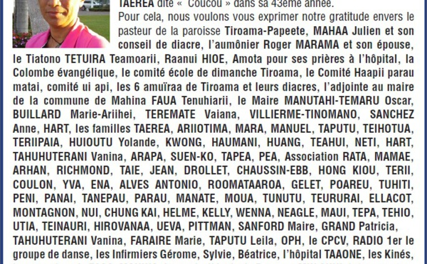 Avis de remerciements familles TAEREA