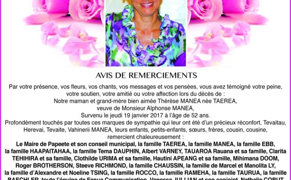 Avis de remerciements familles MANEA, TAEREA
