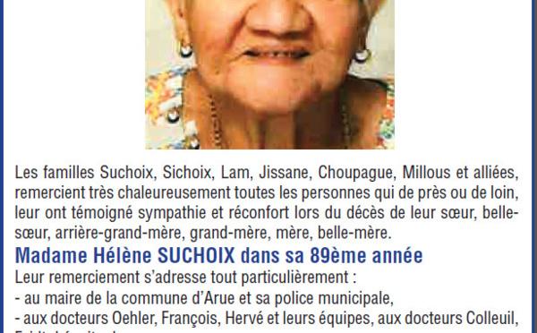 Avis de remerciements Famille SUCHOIX