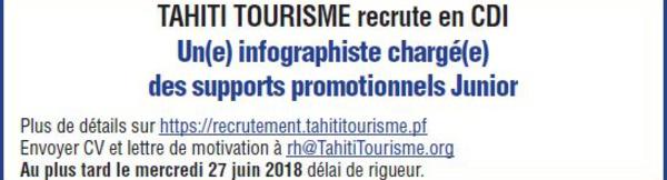 TAHITI TOURISME recrute en CDI Un(e) infographiste chargé(e) des supports promotionnels Junior