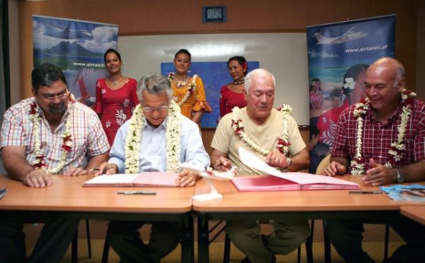 Signature de convention entre le Pays et la compagnie aérienne Air Tahiti