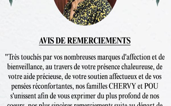 Avis de remerciements Famille CHERVY - POU