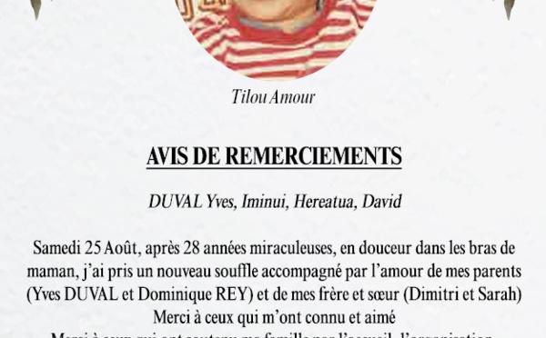Avis de remerciements Famille DUVAL