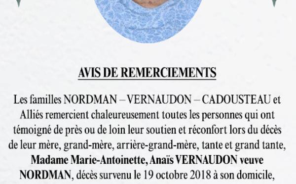 Avis de remerciements Famille NORDMAN-VERNAUDON