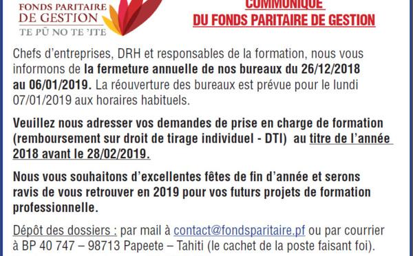 Communiqué du Fonds Paritaire de Gestion - DTI