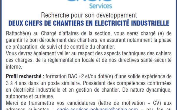 Offre d'emploi - Chefs de chantiers en électricité industrielle