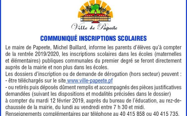 Communiqué Ville de Papeete : Inscriptions scolaires