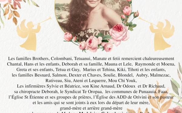 Avis de remerciements Famille COLOMBANI - BROTHERS