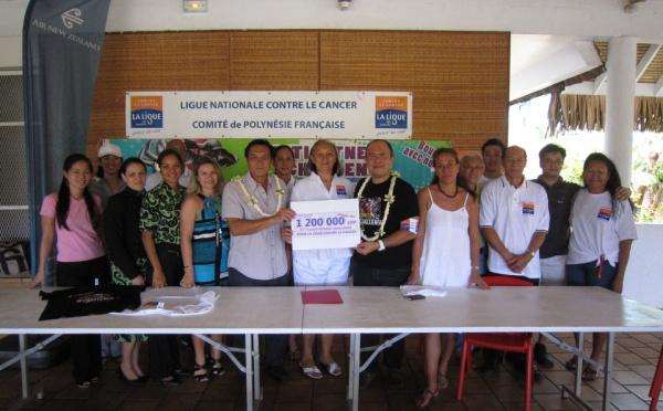 Remise du chèque de 1 200 000 CFP à la Ligue contre le cancer par le TAHITI FITNESS CHALLENGE