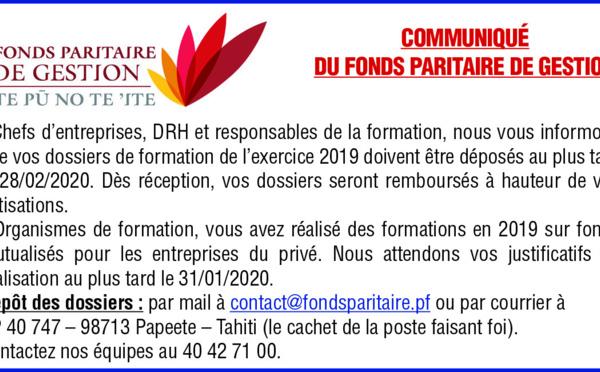 COMMUNIQUE DU FONDS PARITAIRE DE GESTION