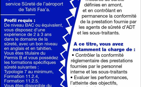 AEROPORT DE TAHITI RECRUTE UN(E) TECHNICIEN(NE) DE SURETE