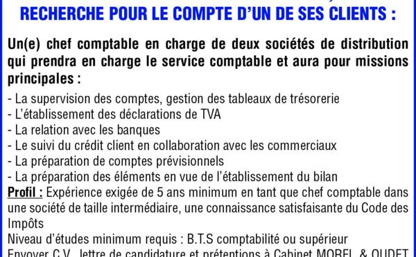 CABINET MOREL & OUDET RECHERCHE POUR LE COMPTE D'UN DE SES CLIENTS UN CHEF COMPTABLE