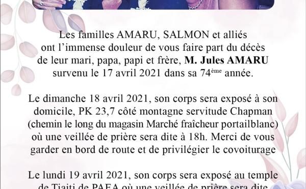 AVIS DE DECES - FAMILLE AMARU-SALMON