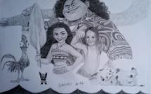 """Une petite fille dans un décor """"Vaiana"""", par B-art-MikeTahiti"""