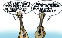 """"""" Préparation au record du monde de 'ukulele """" par Munoz"""